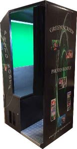 green screen photo booth with green backdrop to have pictures with different backgrounds